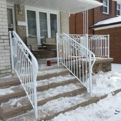 white outdoor railings