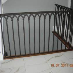 Stairs for second floor with steel railings