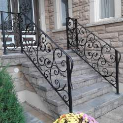 Image of outdoor railings on concrete stairs