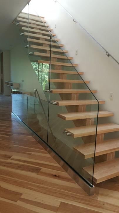 stairway glass railings