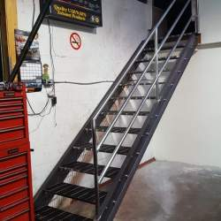 Inside a garage Steel stairs